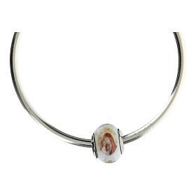 Pendentif pour bracelets Vierge à l'Enfant verre Murano argent 925 s4