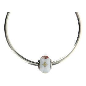 Pendentif pour bracelets Vierge à l'Enfant verre Murano argent 925 s5