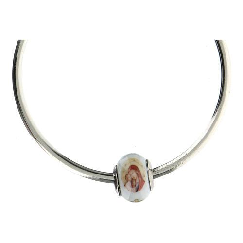 Pendentif pour bracelets Vierge à l'Enfant verre Murano argent 925 4