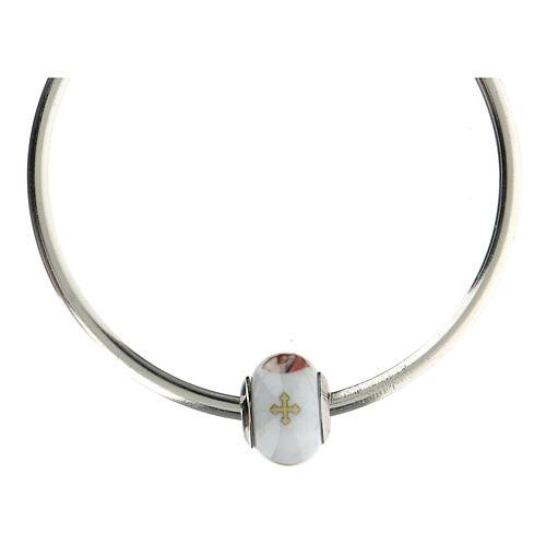 Pendentif pour bracelets Vierge à l'Enfant verre Murano argent 925 5