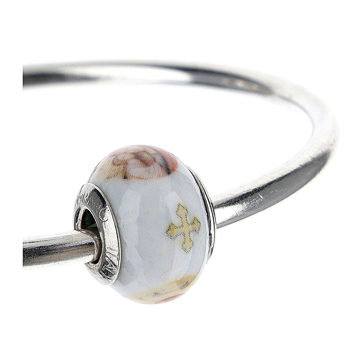 Bead charm for bracelets Mary and Baby Jesus Murano glass 925 silver 4