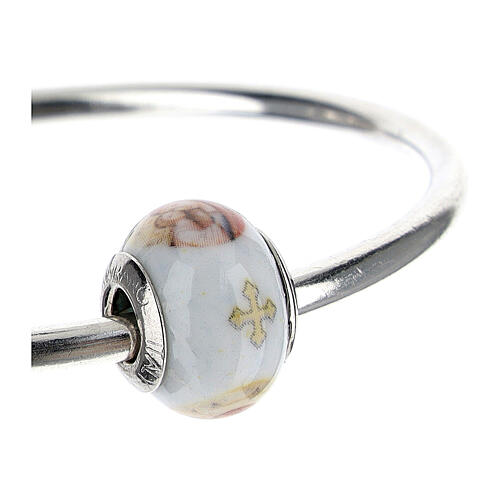 Bead charm for bracelets Mary and Baby Jesus Murano glass 925 silver 3