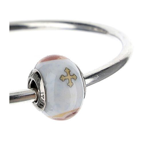 Charm Sagrada Familia para pulseras vidrio Murano plata 925 3