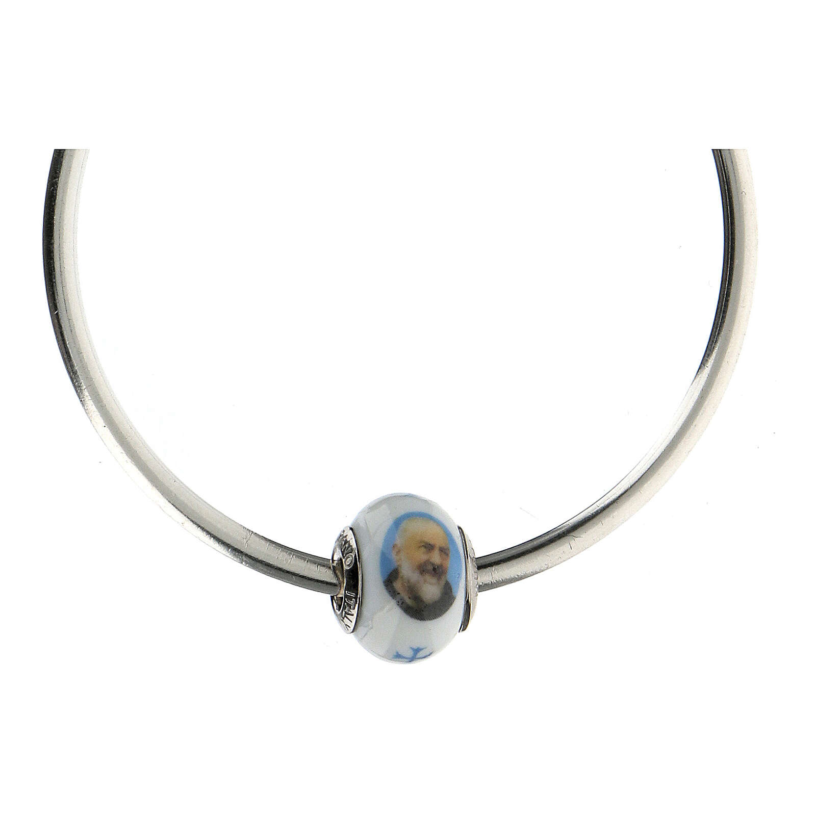 Pasante bolita San Pío plata 925 vidrio Murano para pulseras 4