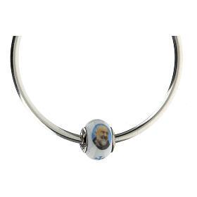 Perle passante Saint Pio argent 925 verre Murano pour bracelets s4
