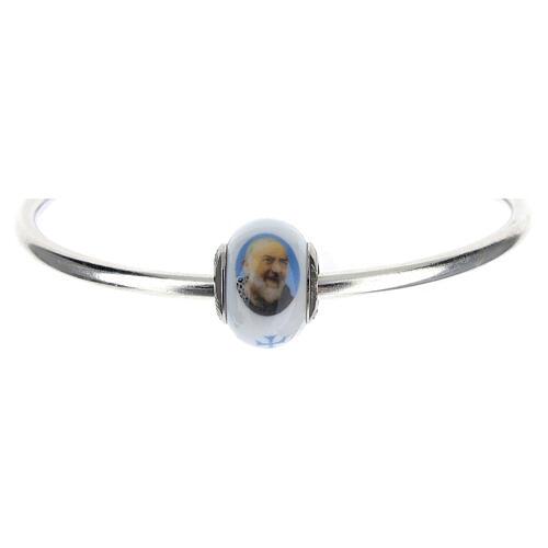Perle passante Saint Pio argent 925 verre Murano pour bracelets 1