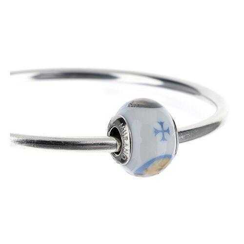 Perle passante Saint Pio argent 925 verre Murano pour bracelets 3
