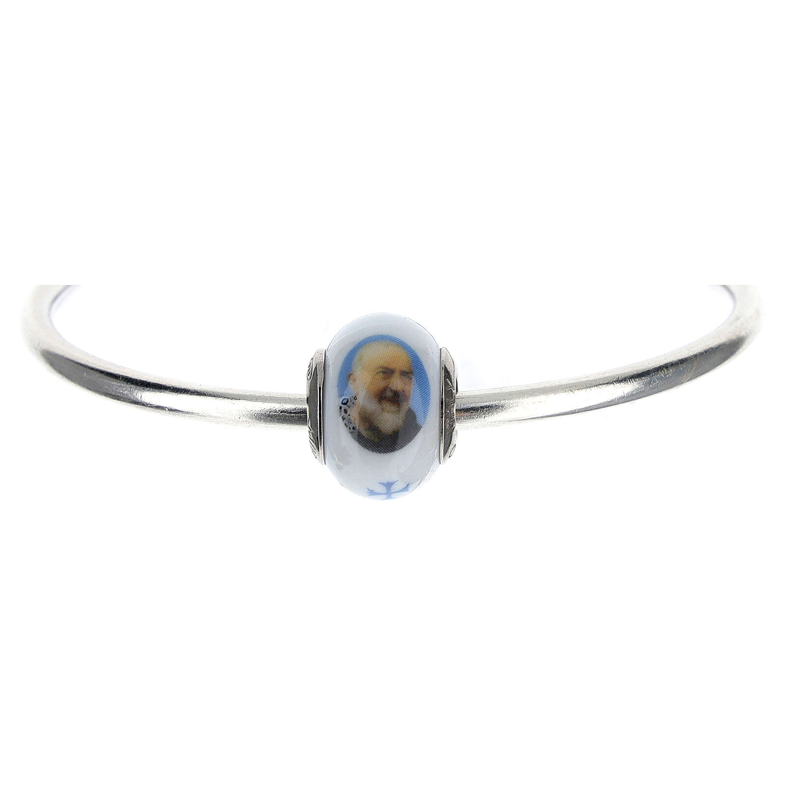 Pearl bead charm Padre Pio 925 silver Murano glass for bracelets 4