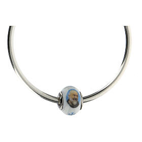 Pearl bead charm Padre Pio 925 silver Murano glass for bracelets s4