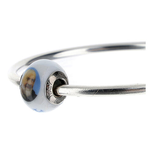 Pearl bead charm Padre Pio 925 silver Murano glass for bracelets 2