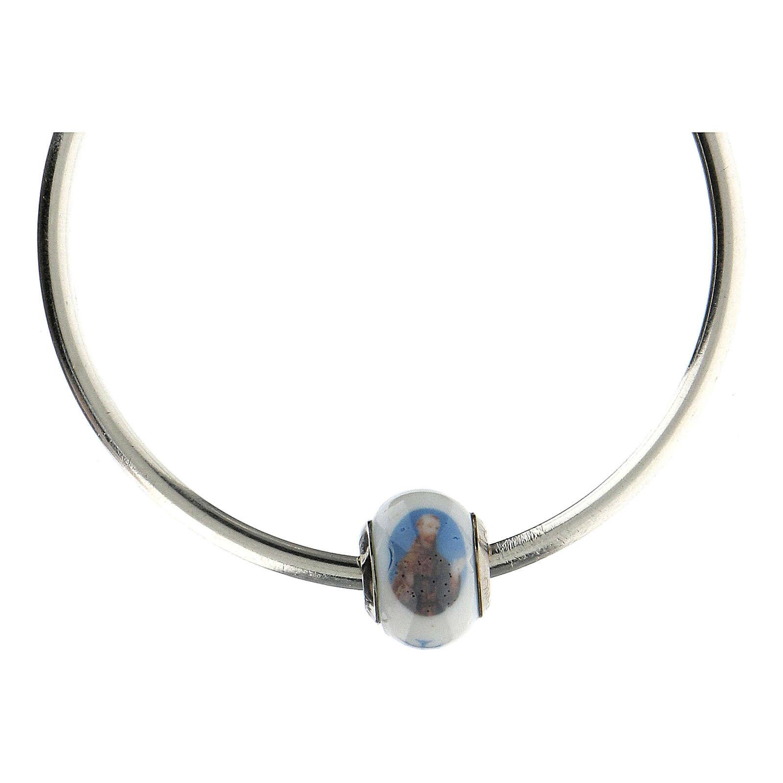 Perle charm Saint François pour bracelets verre Murano argent 925 4