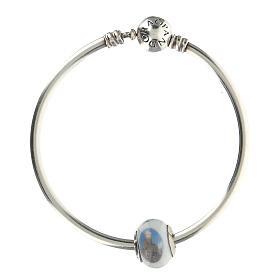 Perle charm Saint François pour bracelets verre Murano argent 925 s8