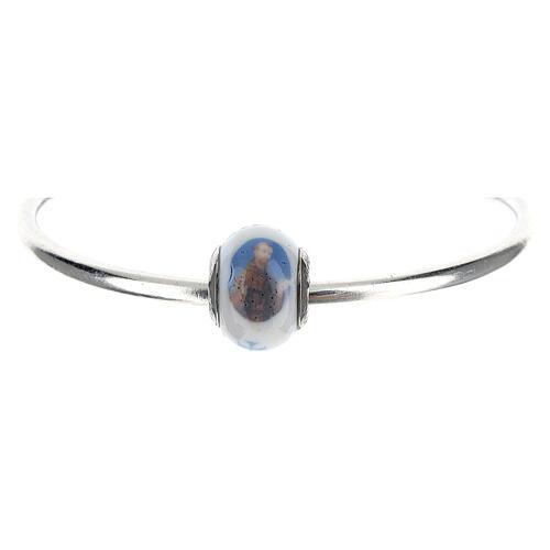 Perle charm Saint François pour bracelets verre Murano argent 925 5