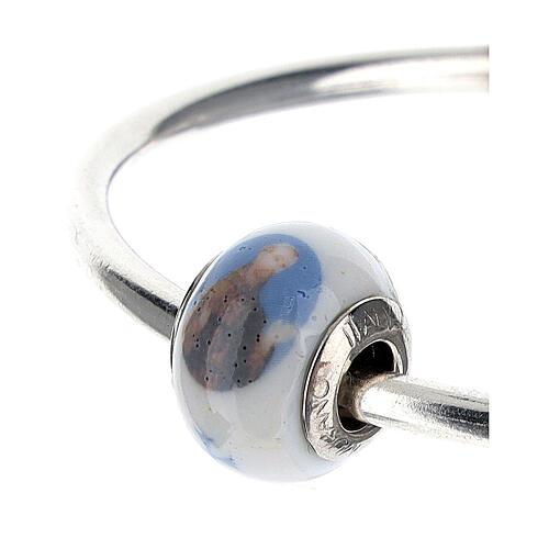 Perle charm Saint François pour bracelets verre Murano argent 925 6