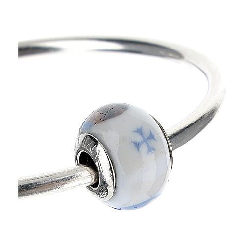 Perle charm Saint François pour bracelets verre Murano argent 925 7