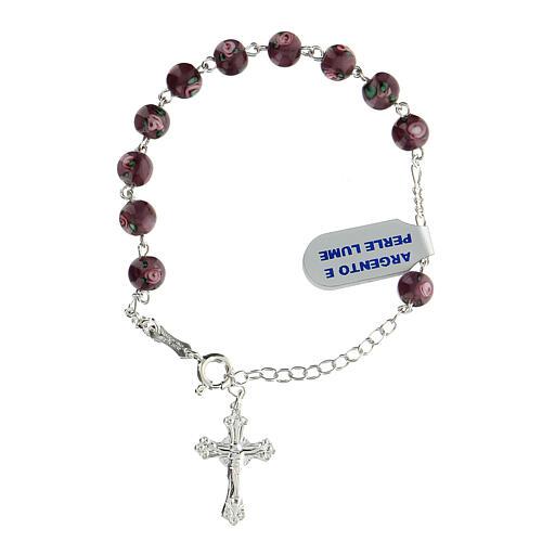 Pulsera decena perlas violeta 6 mm plata 925 colgante cruz 1