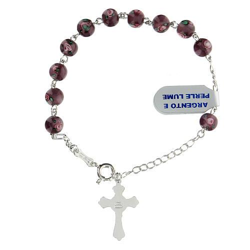 Pulsera decena perlas violeta 6 mm plata 925 colgante cruz 2