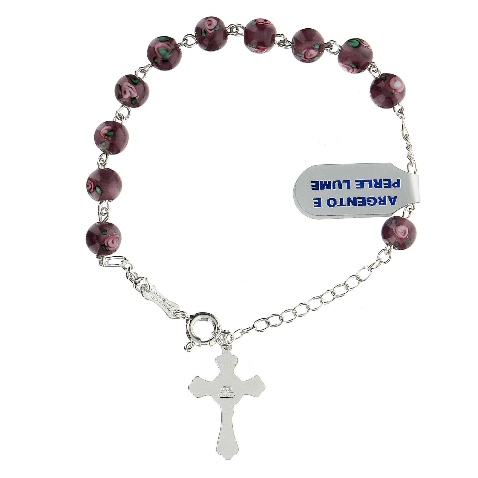Bracciale decina perle lume viola 6 mm argento 925 pendente croce 4
