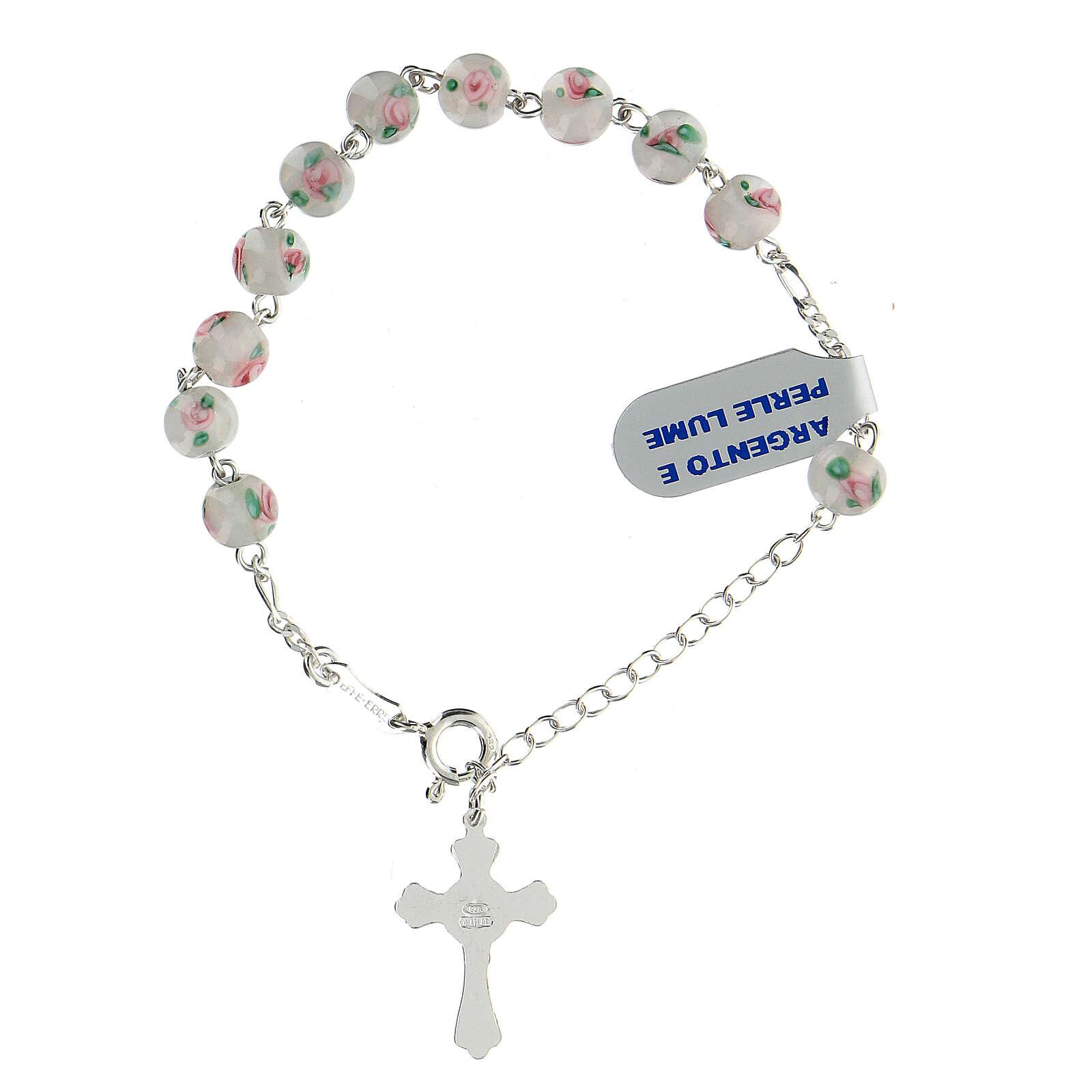 Pulsera decena plata 925 cruz granos perlas 6 mm blancas 4