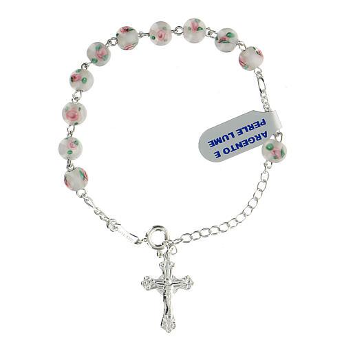 Pulsera decena plata 925 cruz granos perlas 6 mm blancas 1