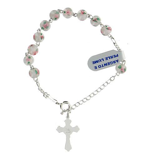 Pulsera decena plata 925 cruz granos perlas 6 mm blancas 2