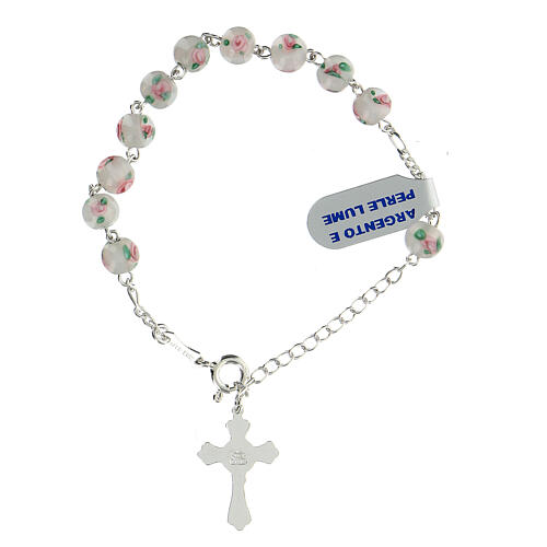 Decade rosary bracelet with 925 silver cross white pearl beads 6 mm 2