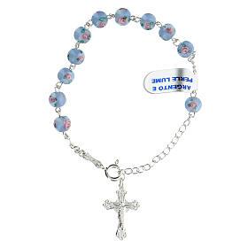 Pulsera decena cruz trilobulada granos 6 mm perlas azules plata 925 s1