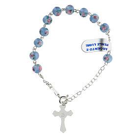 Pulsera decena cruz trilobulada granos 6 mm perlas azules plata 925 s2