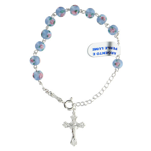Pulsera decena cruz trilobulada granos 6 mm perlas azules plata 925 1