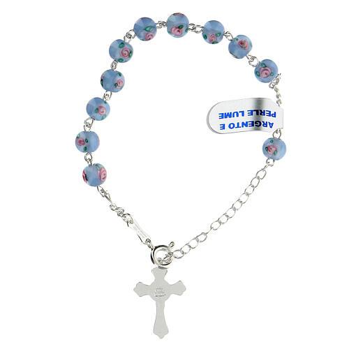 Pulsera decena cruz trilobulada granos 6 mm perlas azules plata 925 2