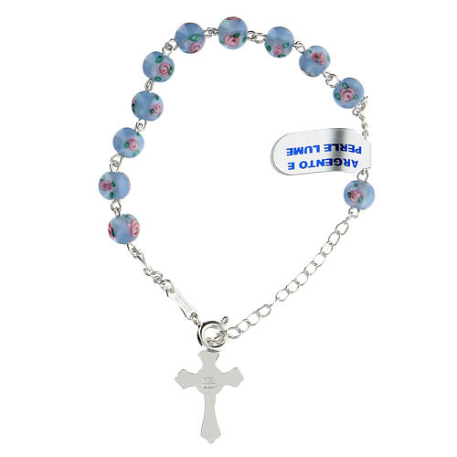 Bracciale decina croce trilobata grani 6 mm perle lume azzurre argento 925 2