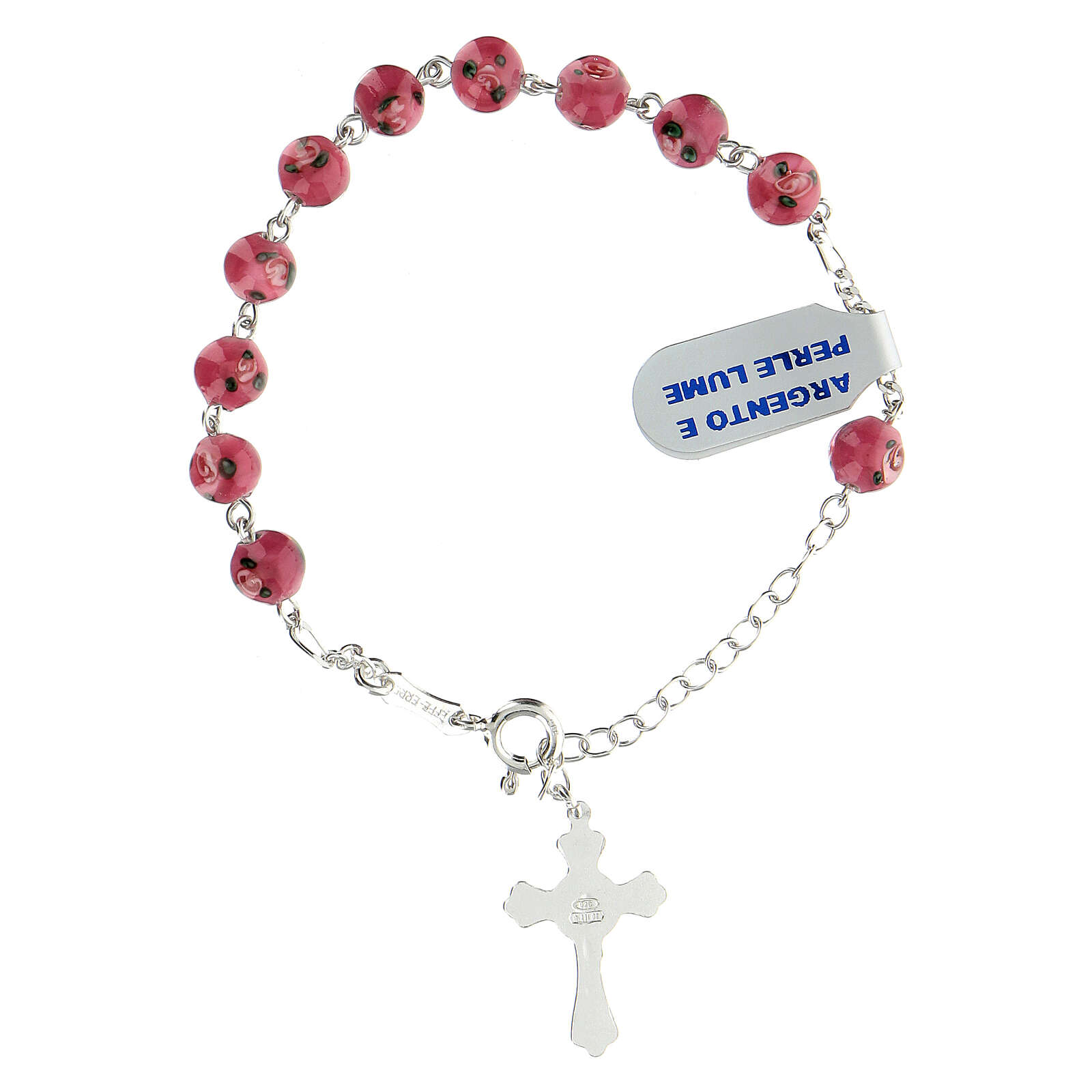 925 silver rosary bracelet 6 mm pink beads 4