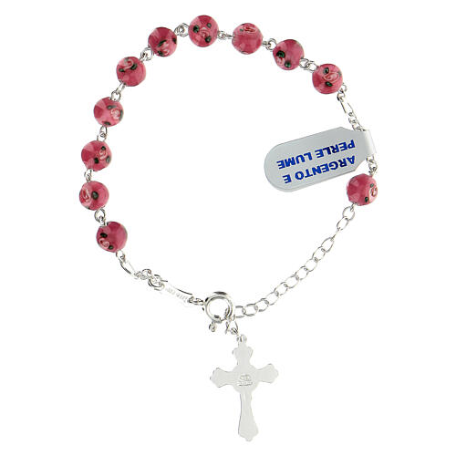 925 silver rosary bracelet 6 mm pink beads 2