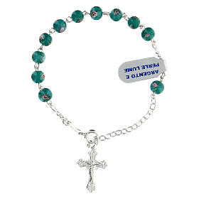One decade rosary bracelet with green beads 6 mm 925 silver s1