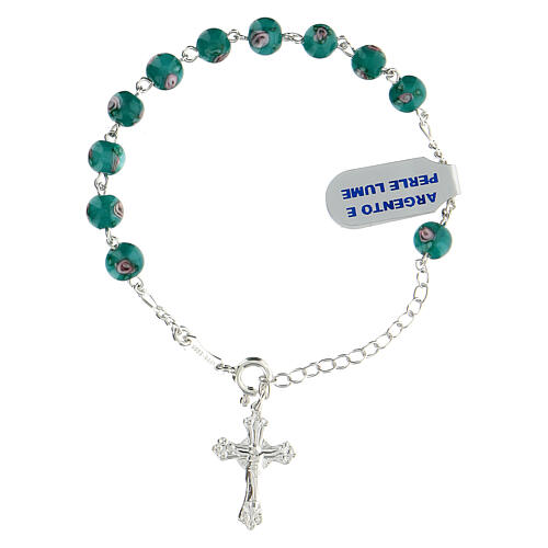 One decade rosary bracelet with green beads 6 mm 925 silver 1