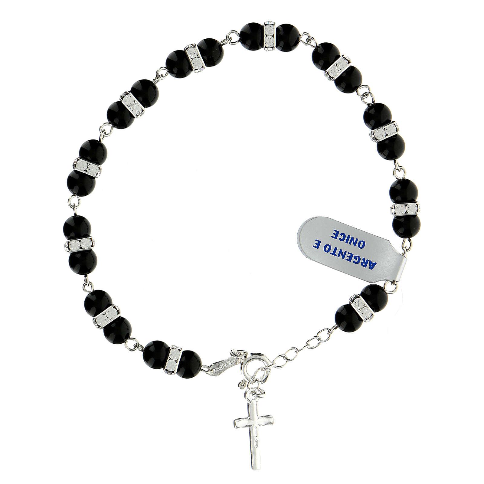 Bracelet onyx dizainier rondelles strass argent 925 4