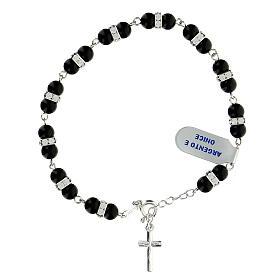 Bracelet onyx dizainier rondelles strass argent 925 s1