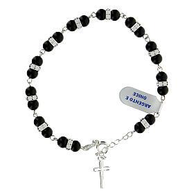 Bracelet onyx dizainier rondelles strass argent 925 s2