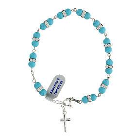 Bracelet grains turquoise 6 mm rondelles cristaux argent 925 s1