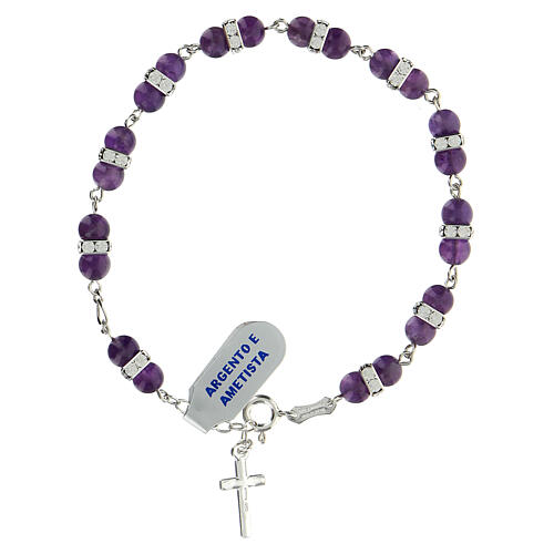 Decade rosary bracelet with round amethyst bead 925 silver 2