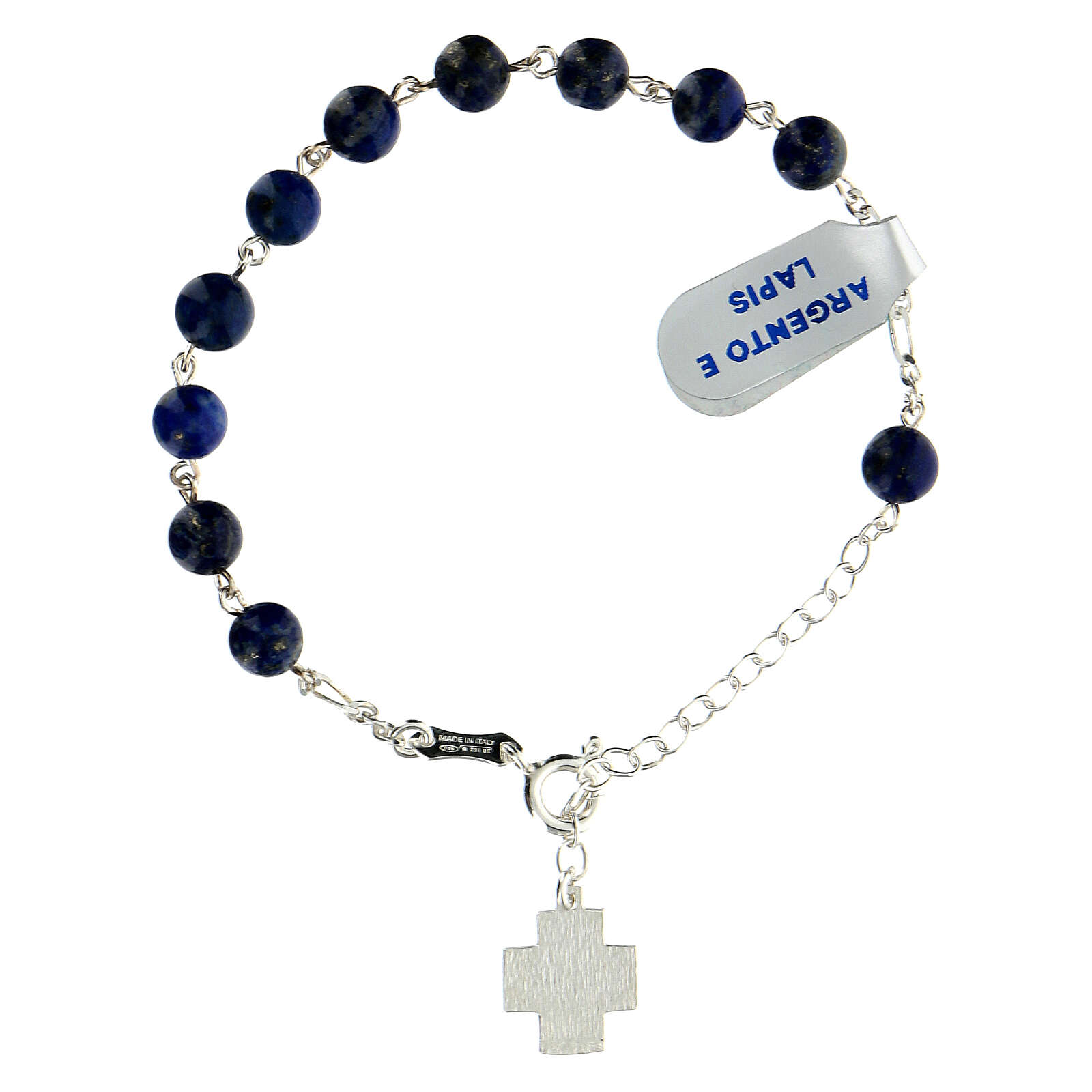 Decade rosary bracelet in 925 silver XP cross lapis lazuli beads 6 mm 4