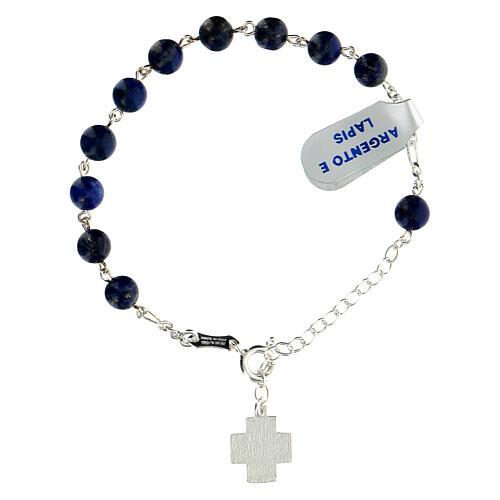 Decade rosary bracelet in 925 silver XP cross lapis lazuli beads 6 mm 2