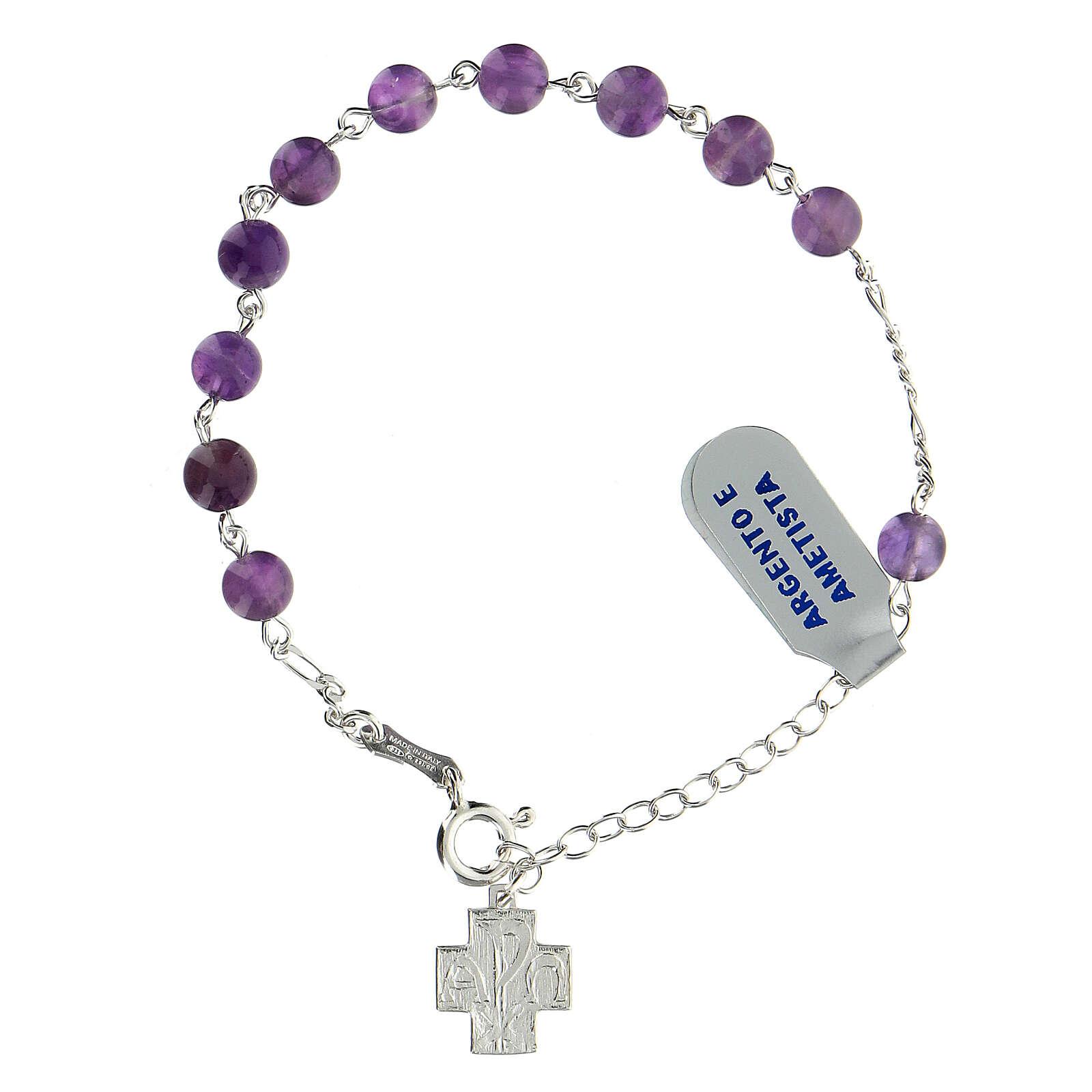 Bracelet dizainier argent 925 grains 6 mm améthyste croix Chi-Rho 4