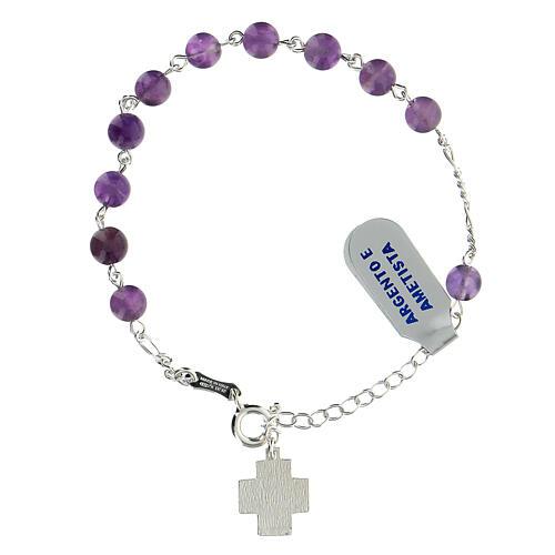 Bracelet dizainier argent 925 grains 6 mm améthyste croix Chi-Rho 2