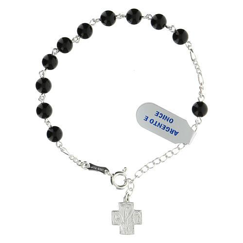 Bracelet dizainier grains 6 mm onyx croix grecque Chi-Rho argent 925 1