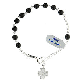 Rosary bracelet with 6 mm onyx beads Greek cross XP 925 silver s1