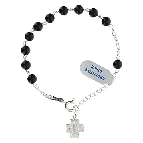 Rosary bracelet with 6 mm onyx beads Greek cross XP 925 silver 1