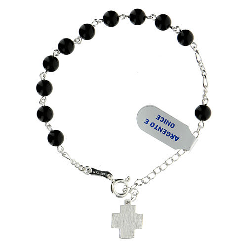 Rosary bracelet with 6 mm onyx beads Greek cross XP 925 silver 2