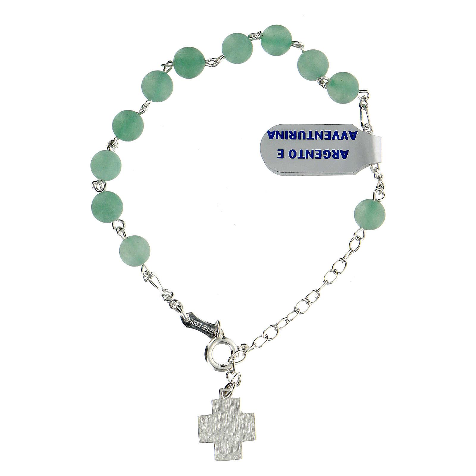 Aventurine rosary bracelet 6 mm beads 925 silver cross XP 4
