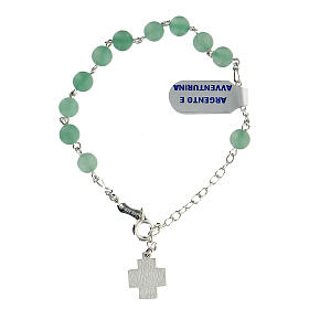 Aventurine rosary bracelet 6 mm beads 925 silver cross XP s2